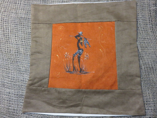<span style='font-size:1em'>Cushion Cover from Suede</span><br><span style='font-size:0.7em'>Hand Painted Fisherman</span>