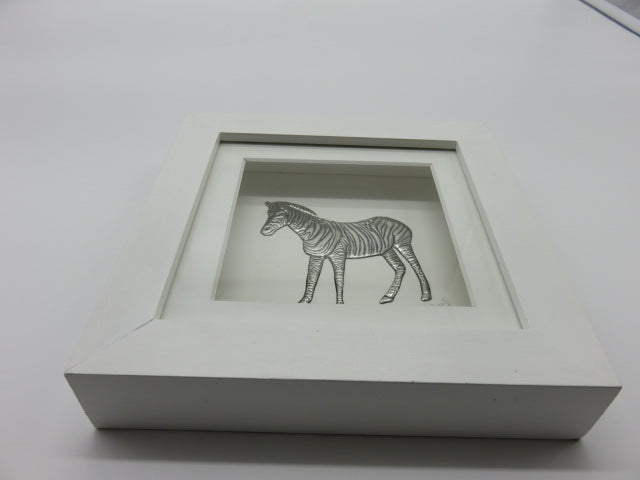 Pewter Zebra<br><span style='font-size:75%'> In Wooden Frame<br>3.15 x 3.15 x 1.49'', 0.68 lbs</span>