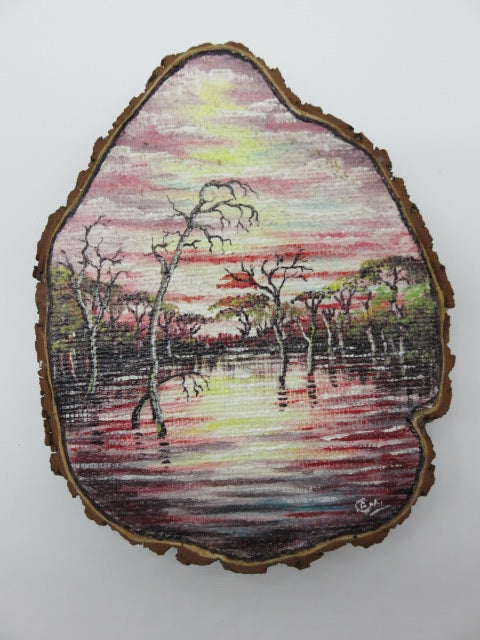 <span style='font-size:1em'>Hand Painted River & Trees</span><br><span style='font-size:0.7em'>On Tree Slice</span>