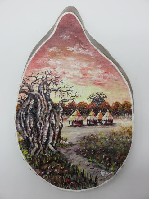 Village Painting<br><span style='font-size:75%'>On Palm Leaf<br>10.08 x 7.79 x 1.22'', 0.55 lbs</span>