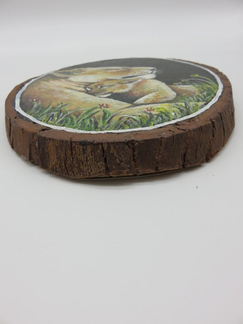 Lioness Painting<br><span style='font-size:75%'>On Tree Slice<br>9.6 x 7.5 x 0.7'', 0.42 lbs</span>
