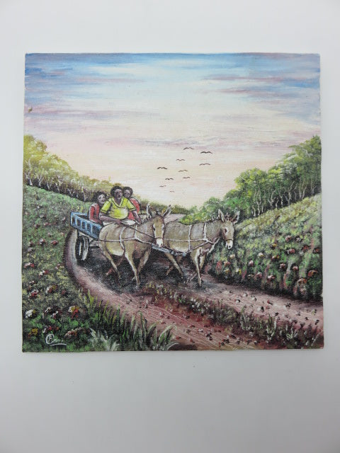 Donkey Cart Painting<br><span style='font-size:75%'>On Hardboard<br>11.80 x 11.80 x 0.30'', 1.63 lbs</span>
