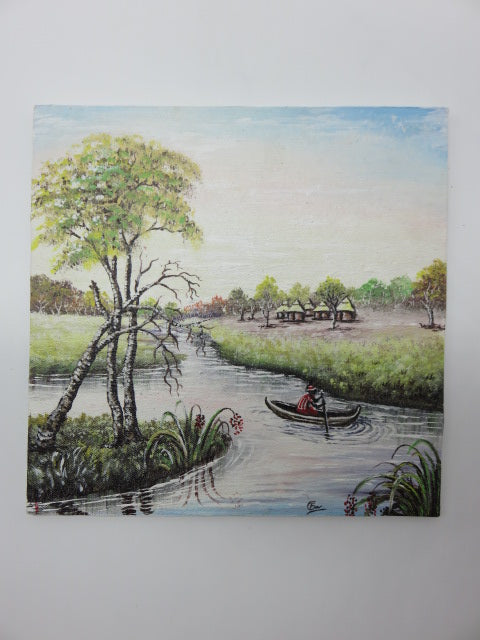 <span style='font-size:1em'>Hand Painted River</span><br><span style='font-size:0.7em'>On Hardboard</span>