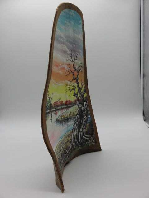 Tree Painting<br><span style='font-size:75%'>On Palm Leaf<br>17.50 x 9.0 x 3.10'', 1.54 lbs</span>