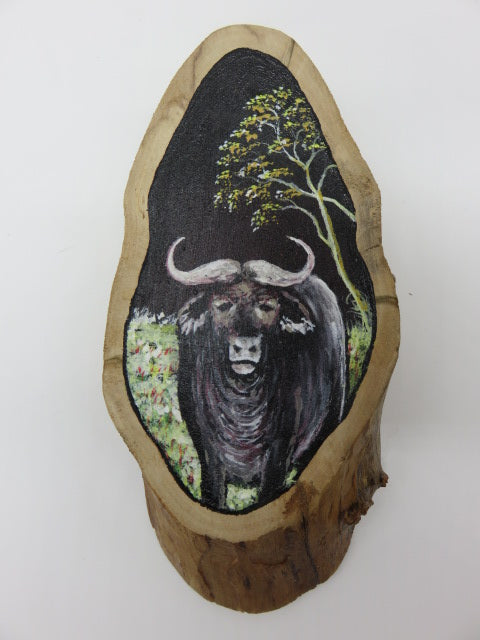 <span style='font-size:1em'>Hand Painted Buffalo</span><br><span style='font-size:0.7em'>On Tree Slice</span>