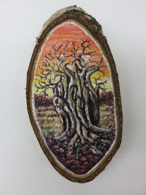 Boabab Tree Painting<br><span style='font-size:75%'>On Tree Slice<br>6.70 x 3.20 x 0.90'', 0.35 lbs</span>