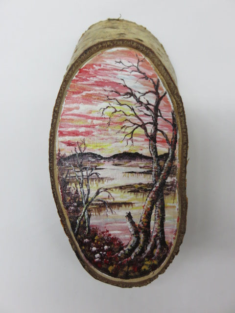 <span style='font-size:1em'>Hand Painted River</span><br><span style='font-size:0.7em'>On Tree Slice</span>