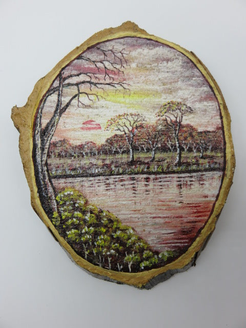 River Painting<br><span style='font-size:75%'>On Tree Slice<br>9.8 x 7.5 x 1'', 1.23 lbs</span>