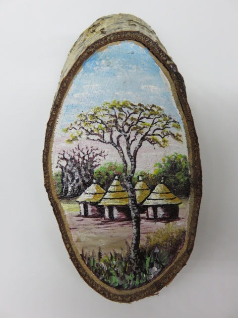 Tree Painting<br><span style='font-size:75%'>On Tree Slice<br>6.61 x 3.5 x 1.06'', 0.35 lbs</span>