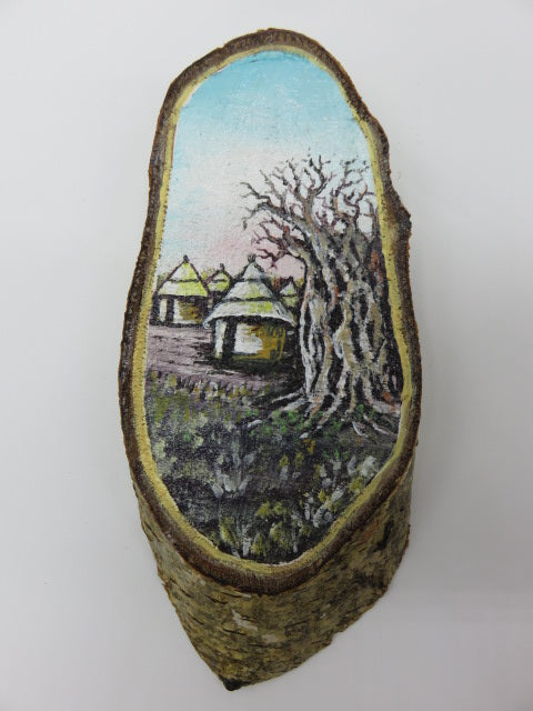 Village Painting<br><span style='font-size:75%'>On Tree Slice<br>7.48 x 3.23 x 0.75'', 0.31 lbs</span>