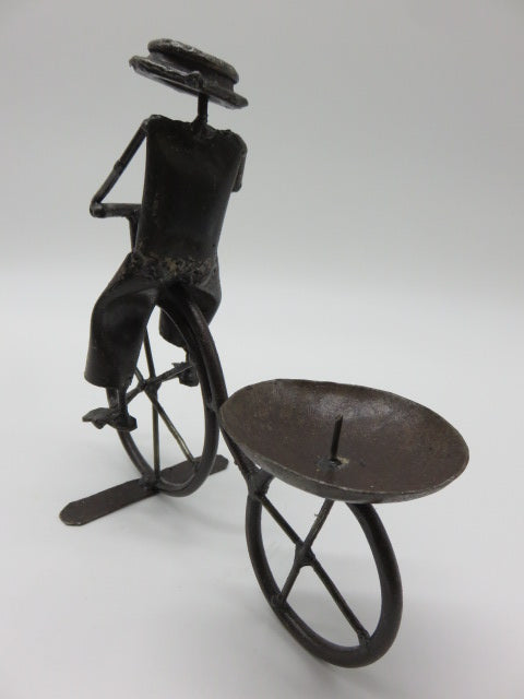 <span style='font-size:1em'>Bicycle Candle Holder</span><br><span style='font-size:0.7em'>Made from Recycled Metal</span>