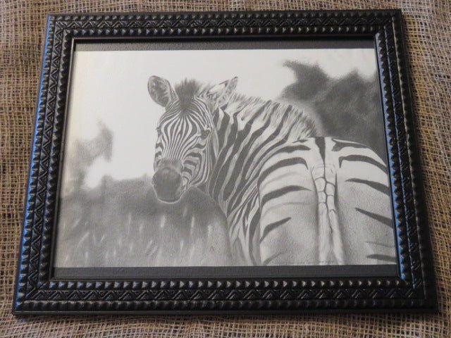 Framed Zebra<br><span style='font-size:75%'>Print from Original Artist<br>15.15 x 18.30'', 3.32 lbs</span>