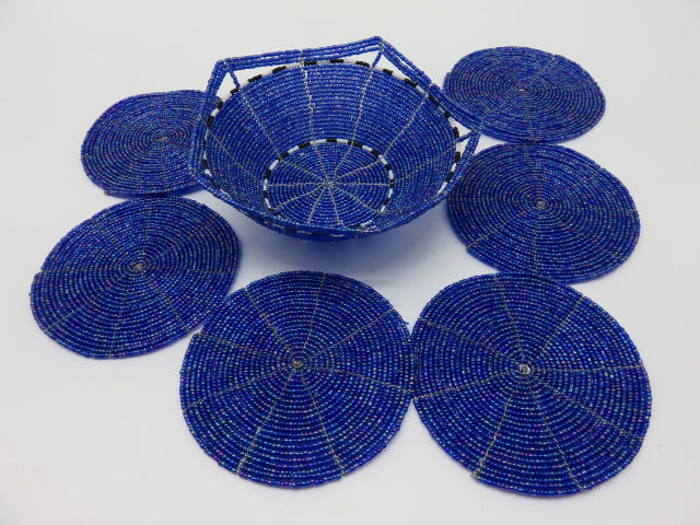 <span style='font-size:1em'>Coaster Set</span><br><span style='font-size:0.7em'>Hand Beaded</span>