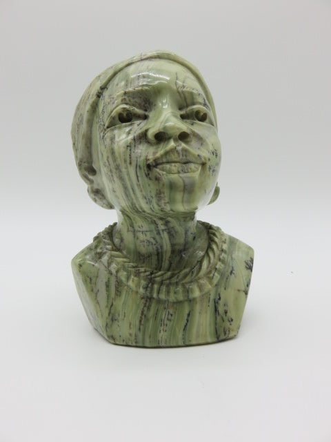 Hand Carved Female Bust<br><span style='font-size:75%'>Butter Jade Stone<br>5.51 x 4.33 x 4.33'', 3.48 lbs</span>