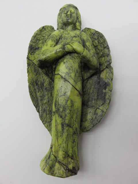 Hand Carved Angel<br><span style='font-size:75%'>Yellow Serpentine Stone<br>9.05 x 4.72 x 1.77'', 1.94 lbs</span>