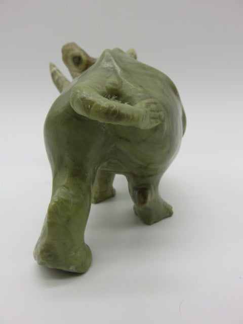 Hand Carved Rhino<br><span style='font-size:75%'>from Butter Jade Stone<br>3.74 x 5.9 x 2.75'', 1.56 lbs</span>