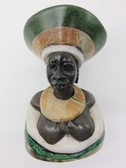 Bust (large)<br><span style='font-size:75%'>Various Hand Carved Stones<br>6.30 x 3.54 x 2.76'', 2.43 lbs</span>