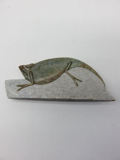 Hand Carved Chameleon<br><span style='font-size:75%'>from Soapstone<br>2.36 x 5.9 x 0.78'', 0.5 lbs</span>