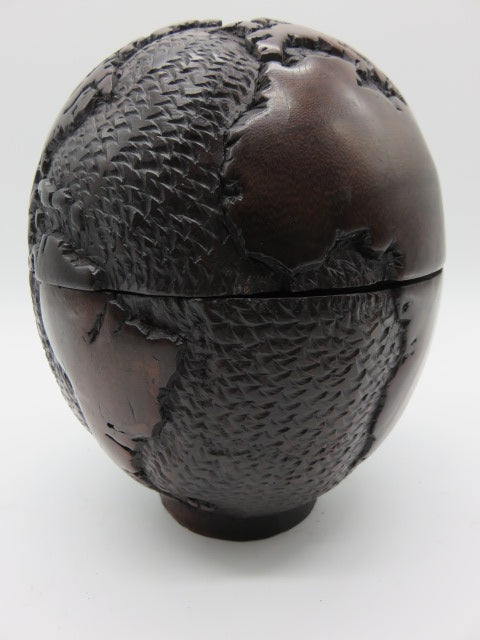 Atlas Ball<br><span style='font-size:75%'>from Hand Carved Wood<br>8 x 6.3 x 6.3'', 2.9 lbs</span>