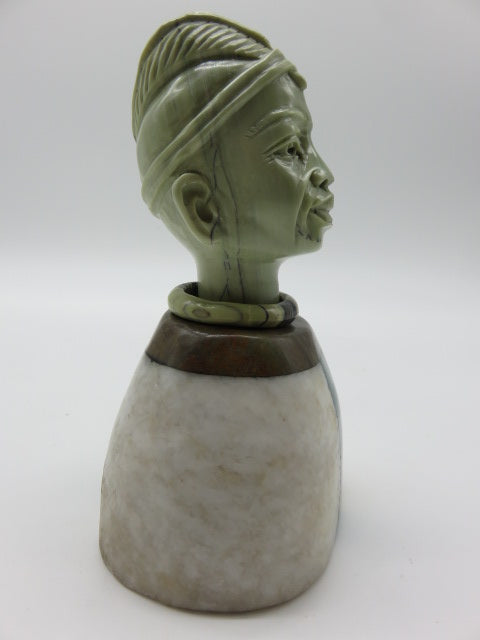 Hand Carved Male Bust<br><span style='font-size:75%'>from Various Stones<br>5.9 x 3.54 x 2.75'', 2.42 lbs</span>