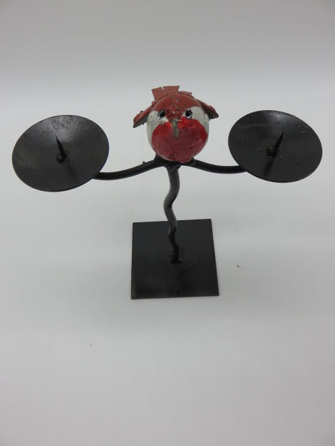 <span style='font-size:1em'>Bird Candle Holder</span><br><span style='font-size:0.7em'>From Recycled Metal</span>