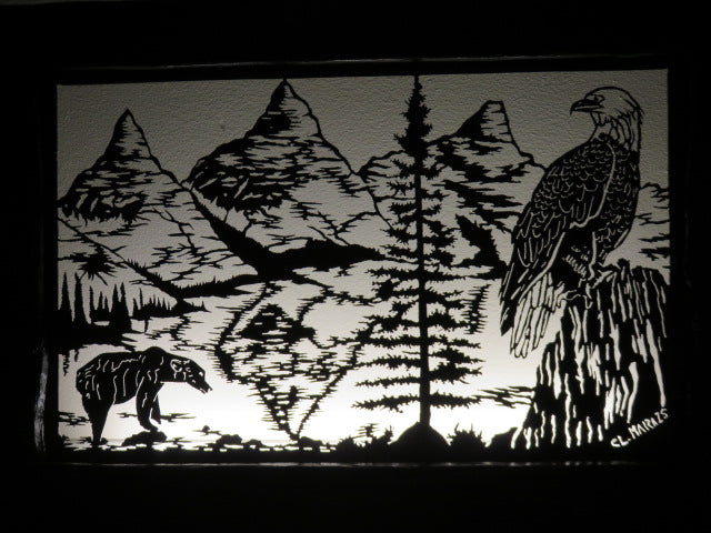 Metal Light<br><span style='font-size:75%'>Bear & Eagle Themed<br>22.04 x 35.03 x 3.54'', 24.75 lbs</span>