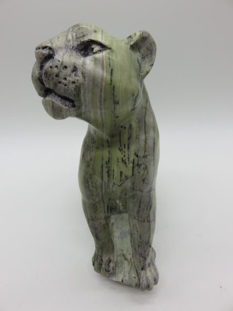 Leopard carved from Stone<br><span style='font-size:75%'>9.84 x 10.63 x 3.14'', 10.69 lbs</span>