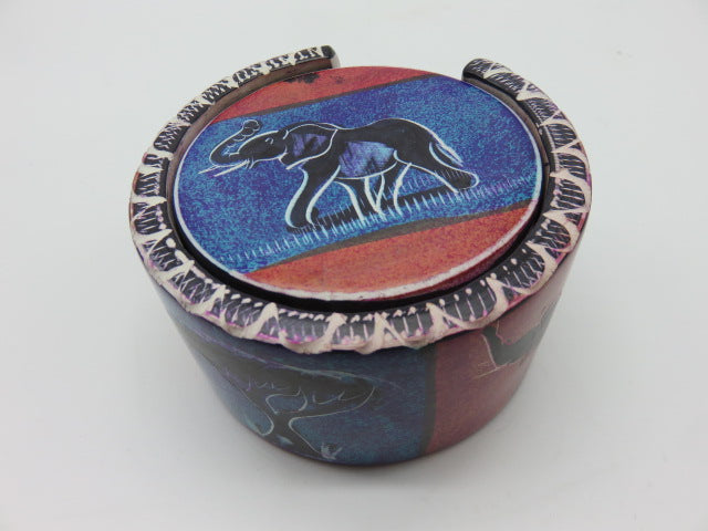 Painted Coaster Set<br><span style='font-size:75%'>Hand Carved Soapstone<br>2.36 x 3.54'', 1.96 lbs</span>