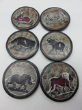 Painted Coaster Set<br><span style='font-size:75%'>Hand Carved Soapstone<br>1.97 x 3.35'', 1.81 lbs</span>