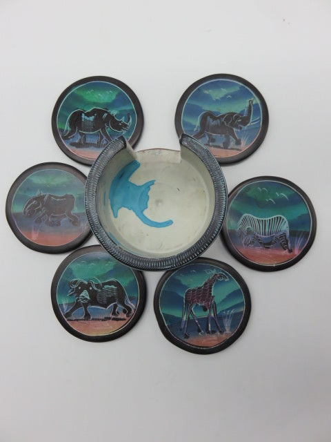 <span style='font-size:1em'>Hand Painted Coaster Set</span><br><span style='font-size:0.7em'>Hand Carved Soapstone</span>