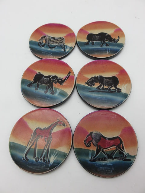 Painted Coaster Set<br><span style='font-size:75%'>Hand Carved Soapstone<br>2.36 x 3.94'', 2.36 lbs</span>