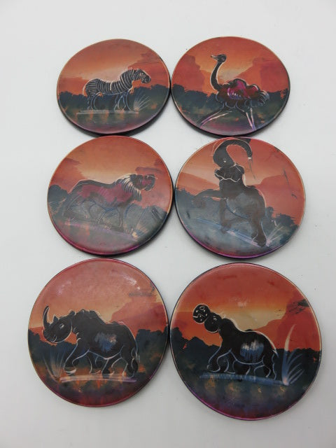 Painted Coaster Set<br><span style='font-size:75%'>Hand Carved Soapstone<br>1.97 x 3.54'', 1.92 lbs</span>