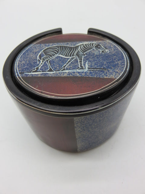 Painted Coaster Set<br><span style='font-size:75%'>Hand Carved Soapstone<br>2.36 x 3.54'', 2.05 lbs</span>