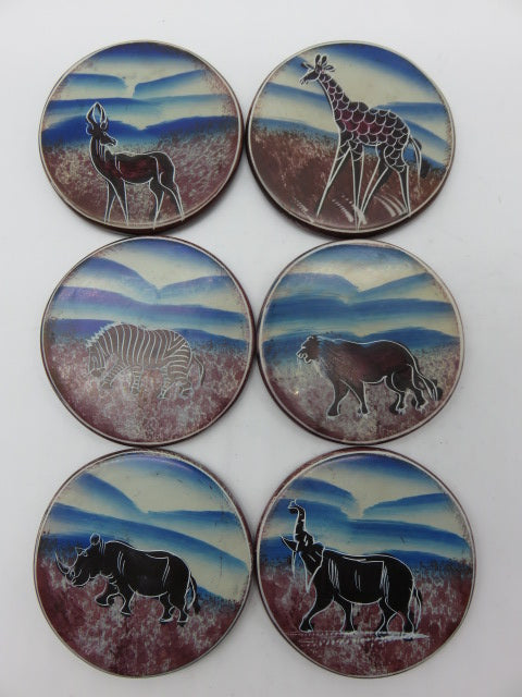 Painted Coaster Set<br><span style='font-size:75%'>Hand Carved Soapstone<br>1.97 x 3.54'', 1.96 lbs</span>