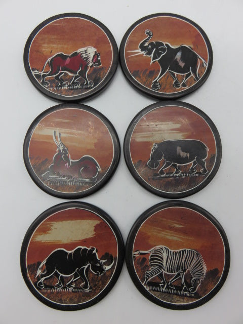 Painted Coaster Set<br><span style='font-size:75%'>Hand Carved Soapstone<br>1.97 x 3.54'', 2.05 lbs</span>