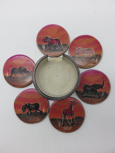 Painted Coaster Set<br><span style='font-size:75%'>Hand Carved Soapstone<br>1.97 x 3.54'', 1.61 lbs</span>