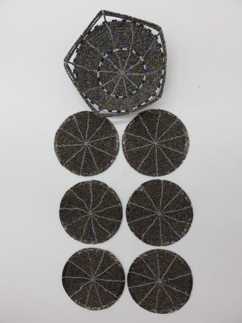 Bowl & Coasters Set<br><span style='font-size:75%'>Hand Beaded<br>2.16 x 5.70 x 5.70'', 0.72 lbs</span>