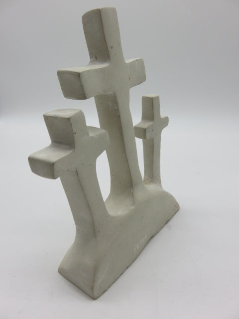 <span style='font-size:1em'>Crosses on Hill</span><br><span style='font-size:0.7em'>Hand Carved White Opal Stone</span>
