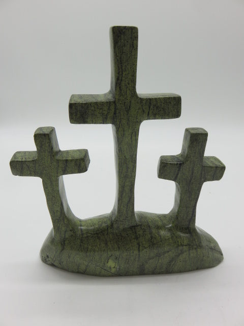 Crosses on Hill<br><span style='font-size:75%'>carved from Stone<br>8.66 x 7.48 x 2.16'', 2.77 lbs</span>