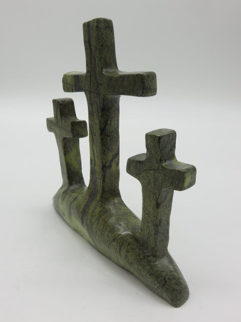 Hand Carved Crosses<br><span style='font-size:75%'>from Leopard Rock Stone<br>7.87 x 7.08 x 1.96'', 2.13 lbs</span>