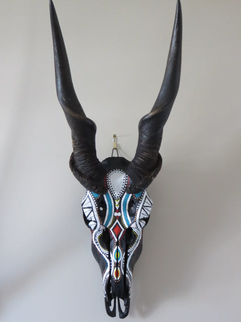 Afrikana Theme Painting<br><span style='font-size:75%'>On Authentic Eland Skull<br>35.03 x 12.59'', 9.03 lbs</span>