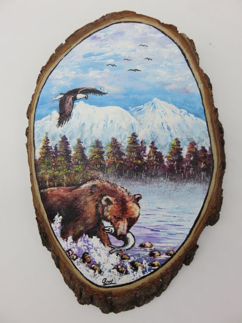 Bear Painting<br><span style='font-size:75%'>On Tree Slice<br>12.59 x 8.26 x 1.18'', 1.49 lbs</span>
