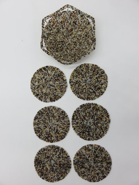 Coaster Set<br><span style='font-size:75%'>Hand Beaded<br>1.96 x 5.90'', 0.63 lbs</span>