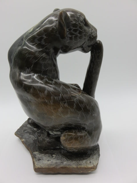 <span style='font-size:1em'>Leopard</span><br><span style='font-size:0.7em'>Hand Carved Fruit Serpentine Stone</span>