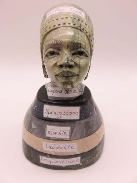 <span style='font-size:1em'>Female Bust</span><br><span style='font-size:0.7em'>Hand Carved 6 Stone Types</span>