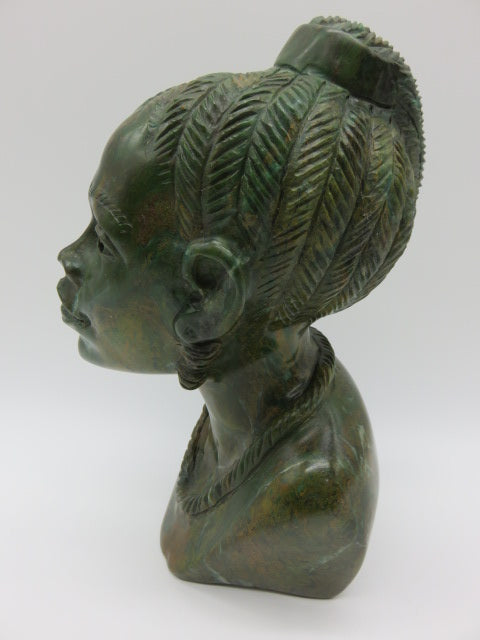 <span style='font-size:1em'>Female Bust</span><br><span style='font-size:0.7em'>Hand Carved Verdite Stone</span>