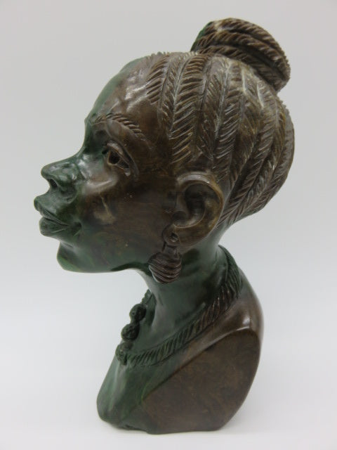 Female Bust<br><span style='font-size:75%'>Hand Carved Verdite Stone<br>7.2 x 3.3 x 4.9'', 5 lbs</span>