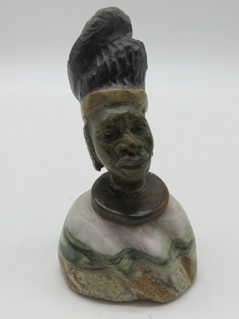 Hand Carved Bust (small)<br><span style='font-size:75%'>from Various Stones<br>3.54 x 1.97 x 1.97'', 0.42 lbs</span>