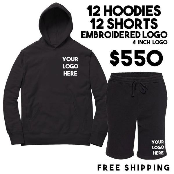 12 Hoodies 12 Shorts Embroidered Logo