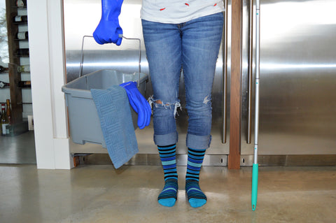Cleaning with Dr. Sega'ls Strip Cotton Blue Energy Socks